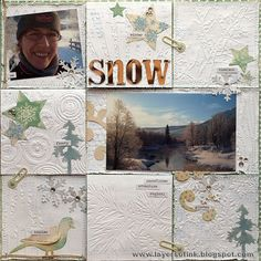 Anna-Karin created this stunning scrapbook page that features a patchwork of embossed designs. Find her tutorial on our blog at: http://sizzixblog.blogspot.com/2013/01/snow-pop-up-layout.html.