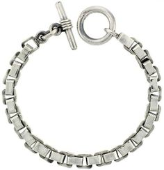 Sterling Silver Box Chain Link Bracelet w/ Toggle Clasp 5/16 inch (8 mm) wide, 8 inch long Sabrina Silver. $343.80