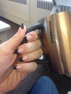 Black tip almond nails. Gel.