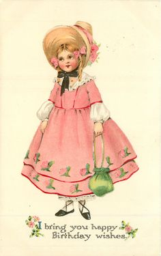 Full Sized Image: girl in old style pink dress stands carrying green purse - TuckDB