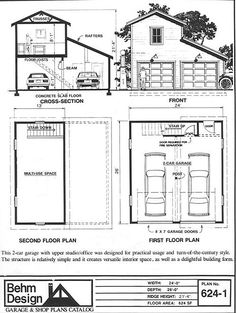 2 Car Craftsman Style Garage Plan with Loft 624-1 - 24' x 26' By Behm Designs. Ready to use Our Garage Plan Click and Download. Get Free Material List with Every garage Plans. 100% Refund on Unused Garage Plan