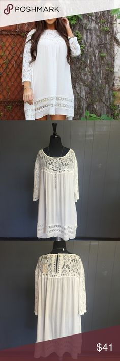 White Lace Detail Dress L&B Brand. New with tags. True to size. Very sheer and needs a slip to wear underneath. L&B Dresses Midi