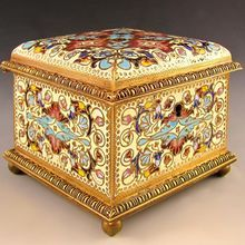 Antique French Signed Champleve Enamel Bronze Jewelry Box, Casket
