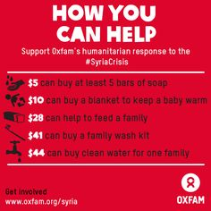 As winter hits Syria's refugees, you can help. More than two million people have now fled Syria (with thousands more fleeing daily), more than half of them children. With the recent storms and cold temperatures, Syria's refugees need assistance urgently. We're providing shelter, food and clean water. Help us expand our humanitarian response to reach 650,000 people in desperate need. http://www.oxfam.org/syria