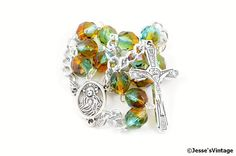Auto Rosary Pocket Czech Glass Turquoise Topaz 1 by JessesVintage