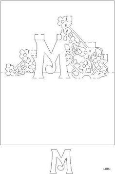 Kirigami - Livro de Letras - liru_origami - Picasa Web Albums 3d Cards, Pop Up Cards, Stencils, Pop Up Card Templates, Tarjetas Pop Up, Silhouettes, Fancy Letters, 26 Letters, Origami And Kirigami