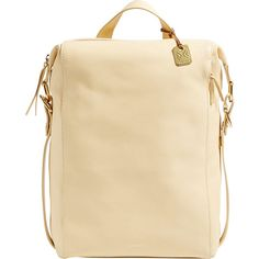 Skagen Nostrup Leather Backpack ($395) ❤ liked on Polyvore featuring bags, backpacks, tan, leather zipper backpack, leather zip backpack, strap backpack, leather bags and genuine leather backpack
