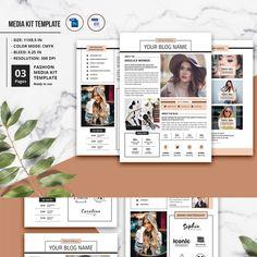 Media Kit Template 3 Page Kit Media, Media Kit Template, Blog Names, Press Kit, Social Media Influencer, Corporate Identity, Templates, Inspiration, Tips