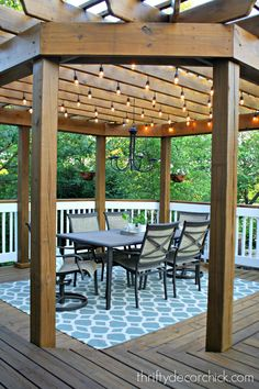 Beautiful Pergola Outdoor Dining Room with Lights. Inspiring DIY Outdoor Lighting Project Ideas for Summer Patio and Yard. Pergola Attached To House, Deck With Pergola, Outdoor Pergola, Wooden Pergola, Backyard Pergola, Outdoor Dining, Outdoor Spaces, Outdoor Decor, Pergola With Lights