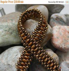 May Sale - 15% Off - Superduo Lentil Band Bracelet; Cuff Bracelet; Bead Weaving; Band Bracelet; Superduo Bracelet; Seed Bead Bracelet; Lenti