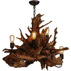 30 Inch W Driftwood 5 Lt Chandelier - Theme: RUSTIC LODGE - Product Family: Driftwood - Product Type: CEILING FIXTURE - Product Application: CHANDELIER - Color: - Bulb Type: MED - Bulb Quantity: 5 - B