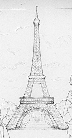 Discover recipes, home ideas, style inspiration and other ideas to try. Art Drawings Sketches Simple, Pencil Art Drawings, Cool Drawings, Eiffel Tower Drawing, Painting & Drawing, Drawing Step, Art Sketchbook, Cool Art, Paris Cafe