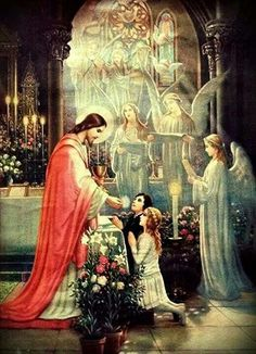 This is beautiful. It reminds me of how the priest is a stand in for Jesus Himself. After all, Jesus was and is our high priest Catholic Mass, Catholic Religion, Catholic Saints, Roman Catholic, Religious Pictures, Religious Art, Madonna, Jesus E Maria, Vintage Holy Cards