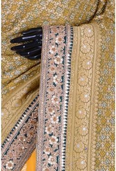 Pure Georgette Embroidery-Olive Green & Yellow-Zardosi Work-WG203532