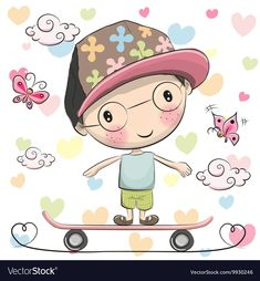 Find Cute Cartoon Boy with a cap on a skateboard and butterflies Stock Images in HD and millions of other royalty-free stock photos, illustrations, and vectors in the Shutterstock collection. Beautiful Drawings, Cute Drawings, Drawing For Kids, Art For Kids, Cute Cartoon Boy, Baby Painting, Penny Black, Cute Characters, Disney Characters