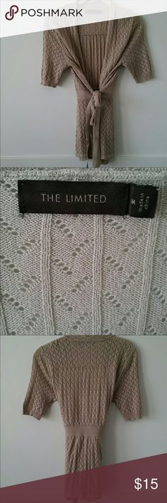 The Limited Tan Knit Tie Sweater Size Medium  Excellent used condition , non smoking home The Limited Sweaters Cardigans