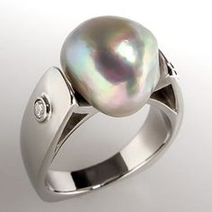 BAROQUE PEARL & DIAMOND COCKTAIL RING 14K WHITE GOLD