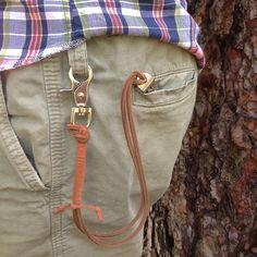 VINTAGE BOTTLE OPENER on leather cord with snap hook: Den & Delve Shop