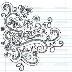 Flower and Butterfly Sketchy Doodles Design Elements — Stock ...