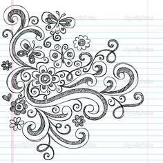 Dibujado a mano vuelta a elementos de diseño escuela estilo superficial garabatos con remolinos, flores y mariposas. Vector Ilustración sobre el papel de cuaderno