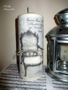 Vintage sviečka dekorovaná dekupážou. Použité špeciálne lepidlo na sviečky, ktoré je nehorľavé a pri horení bez zápachu.  http://www.sashe.sk/HomeArt/detail/vintage-sviecka-velka
