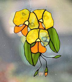 Tiffany Fensterbild gelbe Orchidee Glasbild Glas Kunst Sonnenfänger Blume Bild