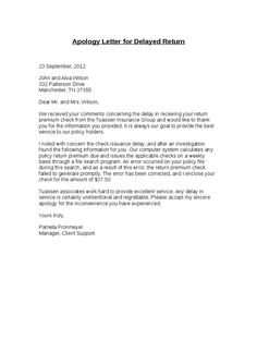 Apology Letter Delay in Delivery Example Just Letter Templates