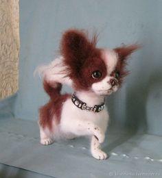 Купить Шоколадка - комбинированный, собака, чихуахуа, собака из шерсти, чихуахуа из шерсти, игрушки ручной работы