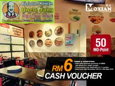#MOVoucher >> Enjoy your lunch with RM6 cash voucher for food only at Uncle Jang Korean Restaurant  Restaurant: Uncle Jang Korean Restaurant Address: 7505,Jalan Enggang 19,Bandar Putra 81000 Kulai ,Johor Page:http://moxian.com/moreward/coupons/546ed6447f8b9a38698b456f  #Lunch #cashvoucher #redemption #MOPoints #MoxianApp #Moxian #beyondsocialrewards #Johor #Restaurant #cashvoucher #unclejang #koreanrestaurant #koreanlover #cashvoucher