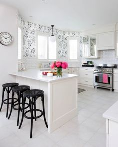Before and After: A Nondescript Kitchen Gets a Feminine-Chic Makeover via @domainehome