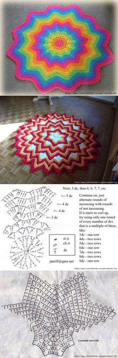 liveinternet.ru Crochet Doily Rug, Crochet Square Blanket, Crochet Carpet, Crochet Ripple, Crochet Circles, Crochet Cross, Crochet Diagram, Crochet Squares, Baby Blanket Crochet