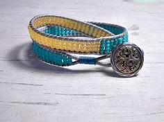 Cream and Blue Bead Double Wrap Bracelet by BeadWorkBySmileyKit, $20.00
