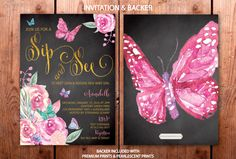 Sip And See Invitations, Butterfly Invitations, Gold Invitations, Green Park, Buy Buy Baby, New Baby Girls, Hunter Green, Floral Watercolor, New Baby Products