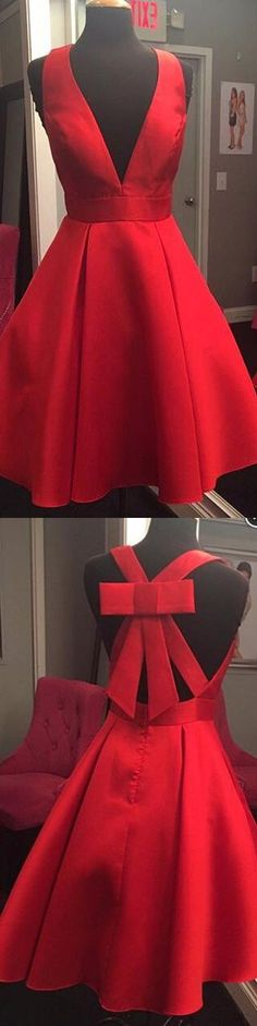 short red homecoming dress, 2017 homecoming dress, deep v neck homecoming dress, homecoming dress with bow