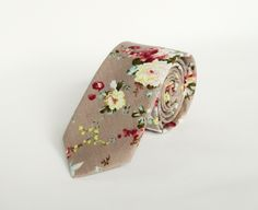 Floral tie Men's grey floral wedding tie gift for men skinny floral tie Groomsmen by TheStyleHubTrends on Etsy