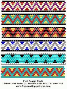 Free even stitch peyote stitch pattern. Peyote Beading Patterns, Loom Bracelet Patterns, Peyote Stitch Patterns, Seed Bead Patterns, Bead Loom Bracelets, Weaving Patterns, Loom Beading, Art Patterns, Jewelry Patterns