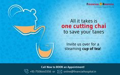 All it takes is one cutting chai to save your taxes! We'll help you plan out your financial future - just call on 7506440356 today! Income Tax, Chai, A Team, Save Yourself, Investing, Take That, How To Plan, Future, Future Tense