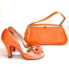 vintage 1940s Orange Creamsicle Babydoll Shoes and Handbag