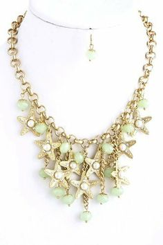 """Dangle Starfish Necklace - Gold Chunky Necklace with Starfish and Mint Beads StarShine Jewelry. $23.45. Starfish bead charm necklace. Length approx 14"""". Lobster claw clasp with 3"""" extender. Lead compliant. Charm drop 2"""" center"""