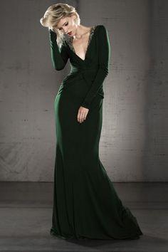 c6f4a4a1a43a Dark Green Figure-hugging Long Sleeve Plunging Stretch Satin Formal Gown  JSLD0384 Abiti Da Sera