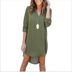 220a541b3 High Quality Autumn Dresses 2018 Fashion Women Casual Loose Plus Size  Elegant Dress Long Sleeve Irregular Chiffon Dress Vestidos-in Dresses from  Women's ...
