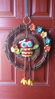Fall-owl-paper flowers-childish-colorful-fun-wreath-double grapevine-felt is fun-