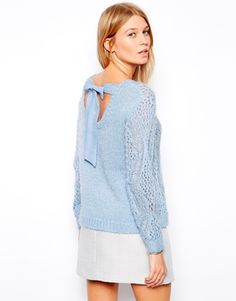 4b2226f6d3 ASOS Jumper in Fluffy Stitch Detail with Tie Back at asos.com