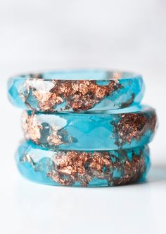 Blue Resin Ring With Copper Flakes