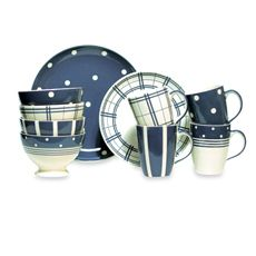 "Kitchen Blue Dinnerware stripes, spots, and plaid - They should have named this ""The Quintessential Stephanie Pattern"""