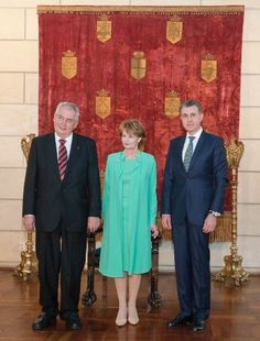 Nobles & Royautés:  Crown Princess Margareta and Prince Radu of Romania with Czech President Milos Zeman, Bucharest, May 21, 2014