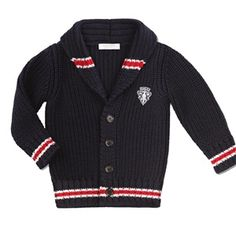 Gucci - Baby Boy Single Breasted Cardigan with Gucci Crest Patch