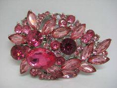 Flower Brooch, Brooch Pin, Rhinestone Jewelry, Large Flowers, Ornament Wreath, Vintage Silver, Shades, Jewels, Pink