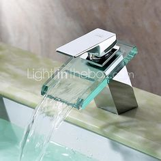 Widespread Waterfall Bathroom Sink Faucet with Glass Spout Chrome Finish Deck Mount Vessel Sink Vanity Bathtub Mixer Taps Contemporary Bathroom Sink Faucets, Bathroom Sink Taps, Tub Faucet, Vanity Sink, Bathroom Fixtures, Taps Bath, Brass Bathroom, Plumbing Fixtures, Bathrooms