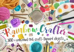 My Rainbow Crafter Scene Creator is THE ultimate craft-themed PNG photo bundle, made from high-quality photographs of real objects, flaws and all, for maximum Scene Creator, The Creator, White Wooden Floor, Paint Tubes, Design Typography, Flaws And All, Glitter Dust, Paint Swatches, Png Photo